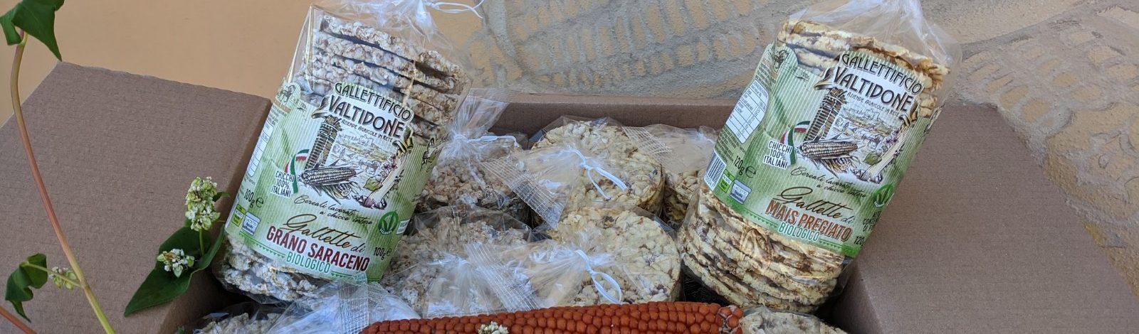SCATOLA DEGUSTAZIONE MASSIMO BIOLOGICO (6 conf.gallette mais bio+6 conf.gallette grano saraceno bio)
